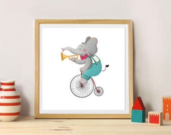 """Elephant on his bike"" illustration"