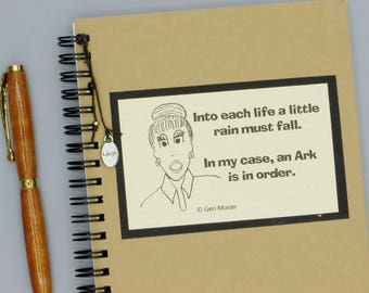A Little Rain Must Fall Embellished  5x7 Spiral Funny Notebook with Laugh Charm