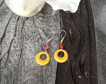 Dangling earrings with hooks, silver round openwork yellow orange enamelled sequin and bead faceted abacus orange