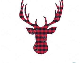 Christmas Deer SVG, DXF, PNG, Eps Cutting Files, Christmas Reindeer Svg, deer head svg, merry Christmas svg, deer svg, holiday svg, plaid