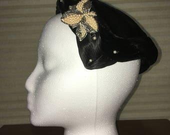 Vintage Black Velvet Beaded Casque Hat