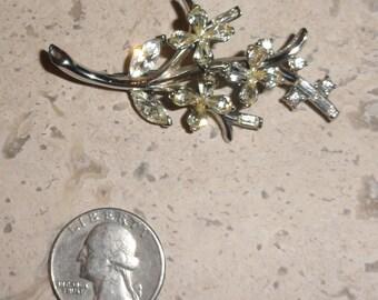 Vintage Silver Tone Rhinestone Floral Brooch Bouquet Bridal Wedding DIY SHIPS FREE Something Old