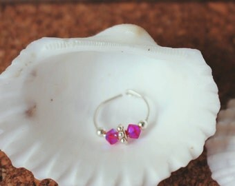 Hot Pink Swarovski Crystal Nose Ring
