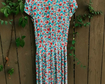 vintage 70s MAGGY LONDEN by jeannene booher womens petite floral prairie dress — size 8