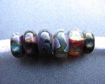 BORO Lampwork Glitter Ribbon Beads Set, Rainbow Lampwork Set, Green, Blue, Purple, Yellow, Red, Magenta, Orange, Shimmers, OOAK - HGD2607