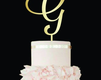 Letter G cake topper Wedding Cake Topper Cake topper G gold cake topper monogram Single Letter wood rustic wedding letter G Cake Topper I J