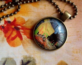 Chain van Gogh. Cafe Terrace at night.  Bronze pendant with chain.  Art in a pendant behind glass