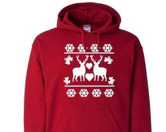 Christmas Reindeer Love Unisex Hoodie Sweatshirt Sweater Christmas Party Christmas Gift Holiday Crewneck Customizable