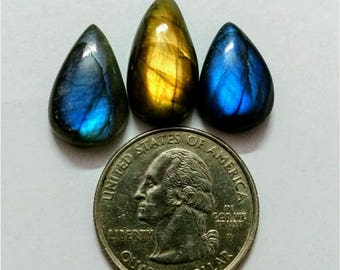 3 Pcs Lot ,Mix Shape Labradorite /Attractive Blue Flash Labradorite/wire wrap stone/Super Shiny/Pendant Cabochon/Labradorite Cabochon lot