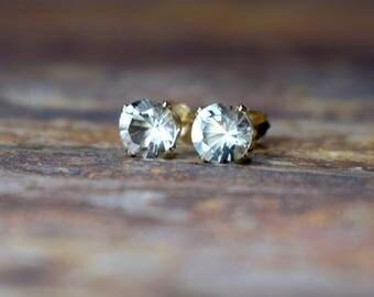 February Birthstone, 6mm Green Amethyst & 14k Gold Filled Claw Studs, Prasiolite, Amethyst Earrings, Gemstone Jewellery UK, Gift for Wife