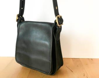 Vintage Coach Flap Bag, Coach 9145, Vintage Coach Bag, Black Coach Bag, Black Leather Bag, Coach Crossbody, Coach Purse, 90s Bag, 90s Purse