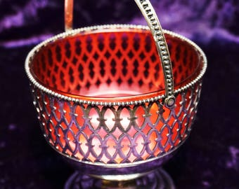 ANTIQUE STERLING SILVER Sugar Basket, c 1900's