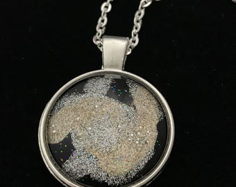Silver and Gold Glitter Glass Pendant Necklace 004