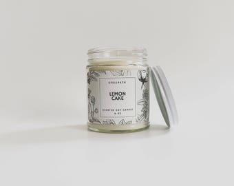 Lemon Cake Scented Soy Candle - 8 oz - Handmade