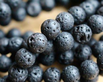 12mm Black Lava beads, full strand, natural stone beads, round