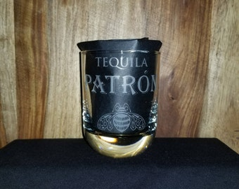 Personalized Patron Tequila Etched Sandblasted Glass, Christmas Gift,