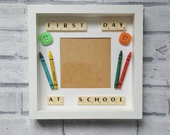 1st Day at School/Nursery Box Frame - First Day/School/Nursery/Handmade/Personalised/Keepsake/Box Frame