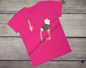 Funny Ostrich T-Shirt head under sand T-Shirt comic graphic tee Women's short sleeve t-shirt tshirt tee