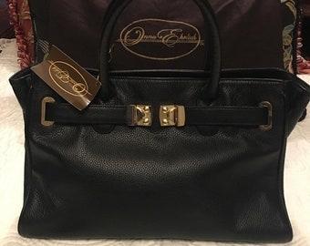 "Onna Ehrlich ""Maya"" black leather handbag"