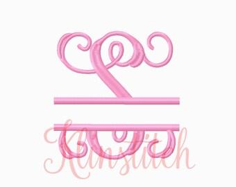 Split Vine Monogram Embroidery Fonts 5 Sizes Three Letters Monogram Fonts BX Fonts Embroidery Designs PES Alphabets - Instant Download