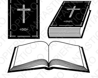 Book Bible SVG files for Silhouette Cameo and Cricut. Christian Scripture study Bible clipart PNG transparent included.