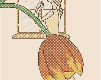 Awakening, tulip girl window Pattern Cross Stitch