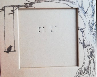 Cardboard frame with hand-pirografatoed tree