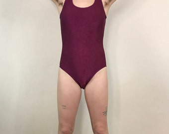 Women's Vintage 1990s, Catalina Maroon Bathing Suit, One Piece Swimsuit