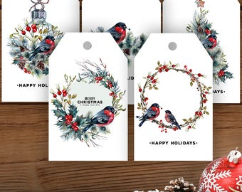 Elegant Red Finch, Happy Holidays Tags, Printable Christmas Gift Tags, Bird Holiday Gift Tags, Christmas Tags, Holiday Tags, Set of 5 Tags
