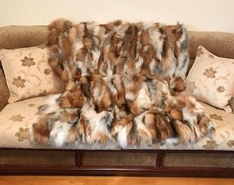 Luxury golden fox fur blanket throw