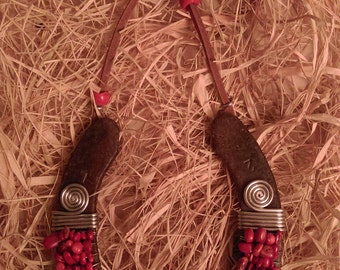 Handmade Hammered Iron Lucky Charm Horseshoe with Evil Eye and Red Coral Stones