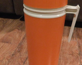 Vintage 1qt. Orange Colored Thermos King Seeley Model #7402