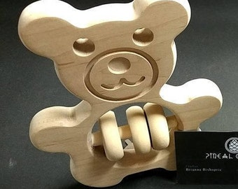 Solid Maple Teddy Bear Rattle