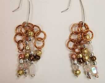 Silver plated hooks with brass rings and glass beads
