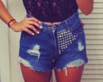 Custom Ripped/destroyed studded shorts
