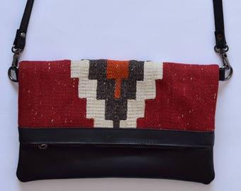 Clutch Bag-018 Handbag Vintage Kilim Rug Genuine Leather Bohemian Bag Boho Bag Hippie Bag