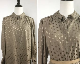 Brown Silk Blouse Top - Polka Dot Tone on Tone Print - Neutral Soft Mocha Brown Tan - Wide Sleeves, Double Collar, French Cuffs, Vintage 80s