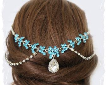 Blue Crystal Great Gatsby Inspired Bridal Headpiece Vintage Style Boho Head Dress Art Deco Wedding Hair Head Chain Rhinestone Hair wrap SARA