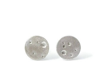 Brushed Silver Circle Earrings - Small Geometric Silver Stud Earrings - Circle Stud Earrings - Gift for Her