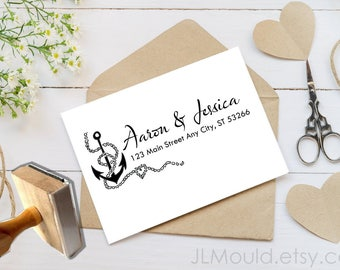 1060 JLMould  Return Address Stamp, Modern Address Stamp, Custom Address Stamp, Personalized Address Stamp, Sailor Nautical wedding