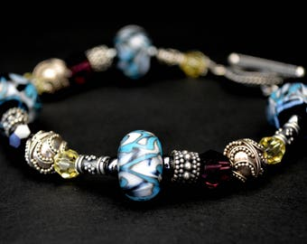 Riders On The storm - Lampwork Glass and Swarovski Crystal Bracelet