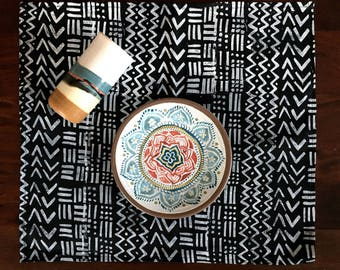 mudcloth inspired. block printed linen napkins. set of four / hand printed / placemats