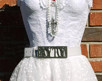 Boy Toy Belt~ New Authentic Madonna Like a Virgin BoyToy Belt Buckle~ Choose white or black leather~ Removable~ Custom sizes available