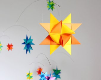 Large Rainbow Froebel Paper Star Mobile Hanging Baby Mobile Nursery Decor Kinetic Art Colorful Mobile Baby Girl Baby Boy Gift Star Theme