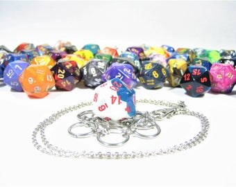 Multi-Colored d20 Necklace and Key Chain Combo With Removable Dice - Gifts for Geeks and Gamers