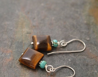 Turquoise and Tiger eye Earrings