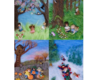 Seasons of Joy, Waldorf Wool Painting Photo Print of Picture Book Illustrations, Set of 4, 5 by 7