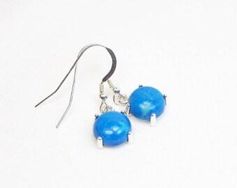 Turquoise Howlite Earrings - 10MM - Sterling Silver - Dangle Earrings - Cabochon Earrings - Genuine Gemstones - Gift