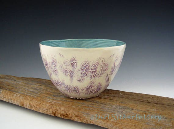 Serving Bowl in Purple and Turquoise - Organic Shape - Pottery Bowl - by DirtKicker Pottery