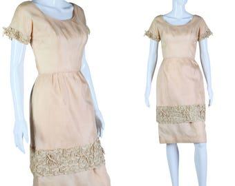 50s Beige Dress Soutache Detail Dress 1950s Dress As is